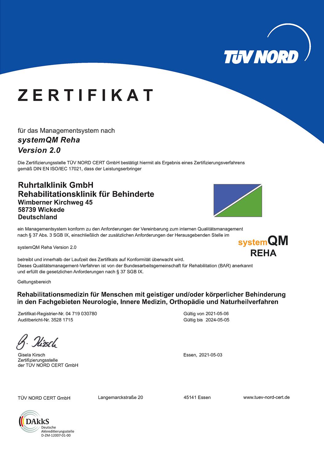 Zertifikat für das Managementsystem nach systemQM REHA Version 2.0